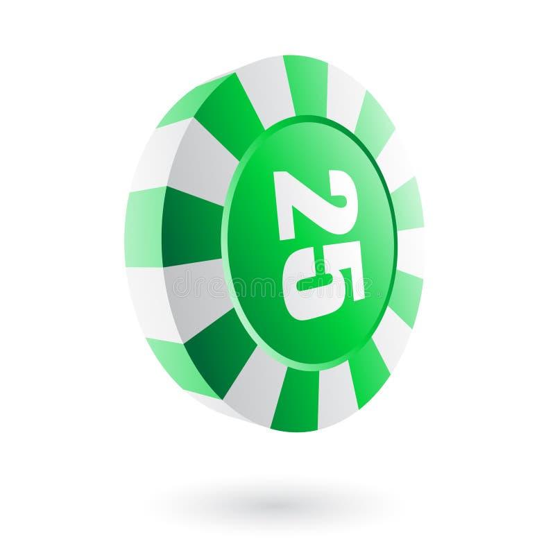 绿色轮盘赌芯片 向量例证