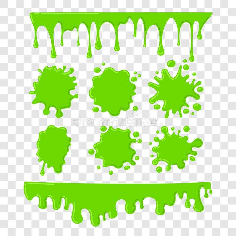 绿色软泥传染媒介在方格的透明背景设置了 向量例证