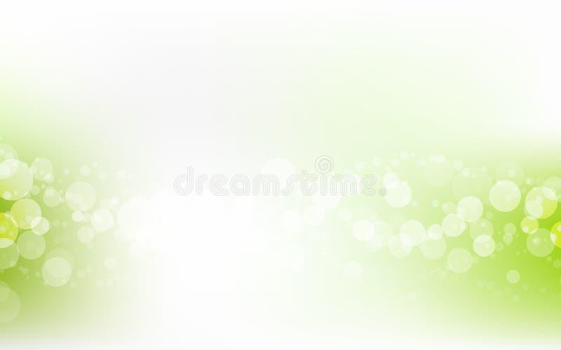 绿色软的淡色Bokeh苍白白色抽象背景 库存例证
