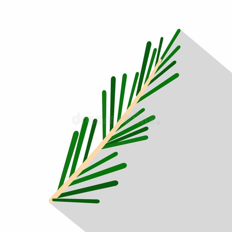 绿色迷迭香枝杈象,平的样式 向量例证