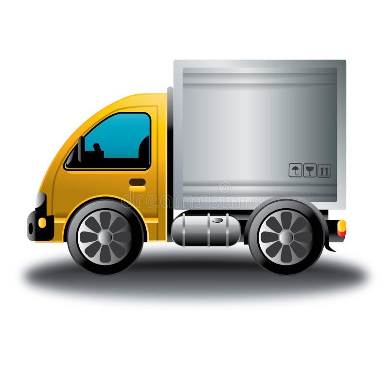 黄色送货卡车网上商店动画片 库存图片