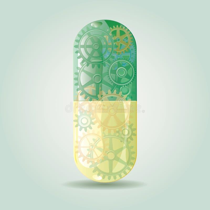 绿色适应药片 向量例证