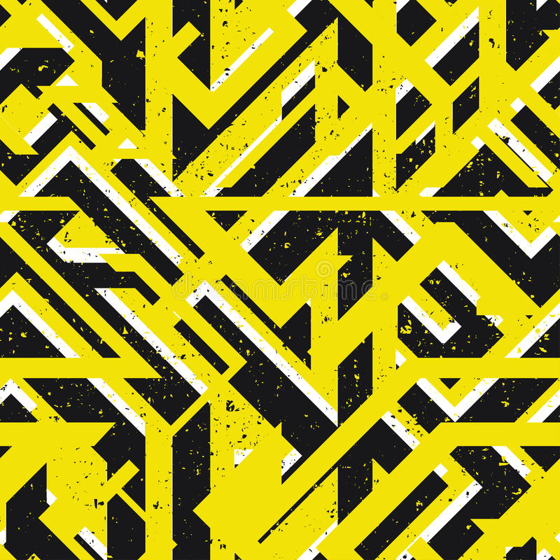 黄色都市几何无缝的纹理 库存例证