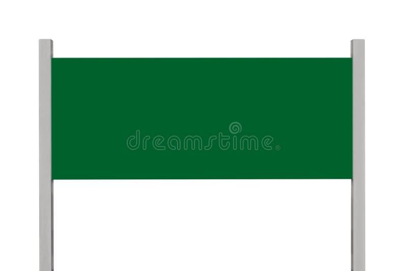 绿色金属标志板标志,被隔绝的空白的空的路旁牌长方形拷贝空间,大长方形金属路标 免版税库存图片