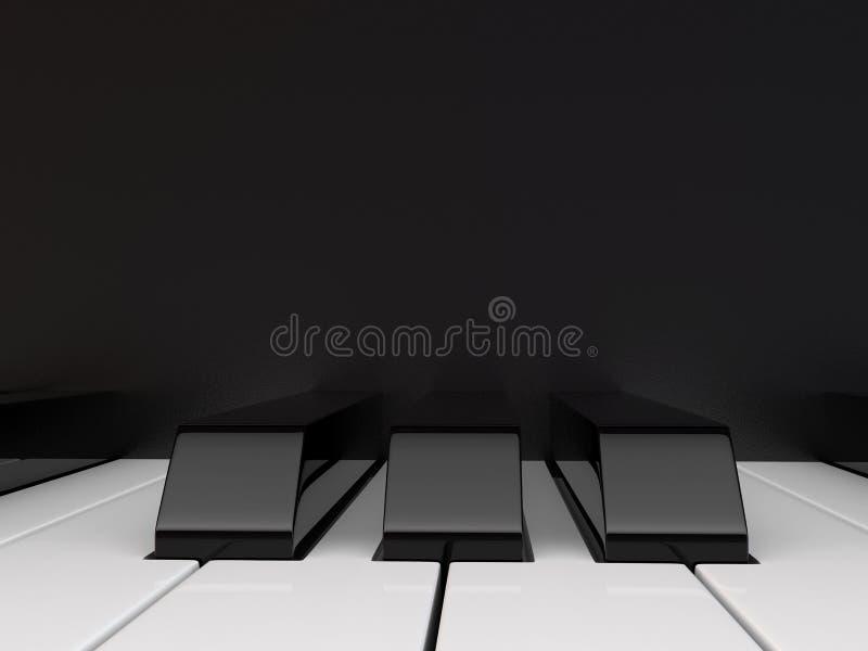 黑色键盘键钢琴行空白木 库存例证
