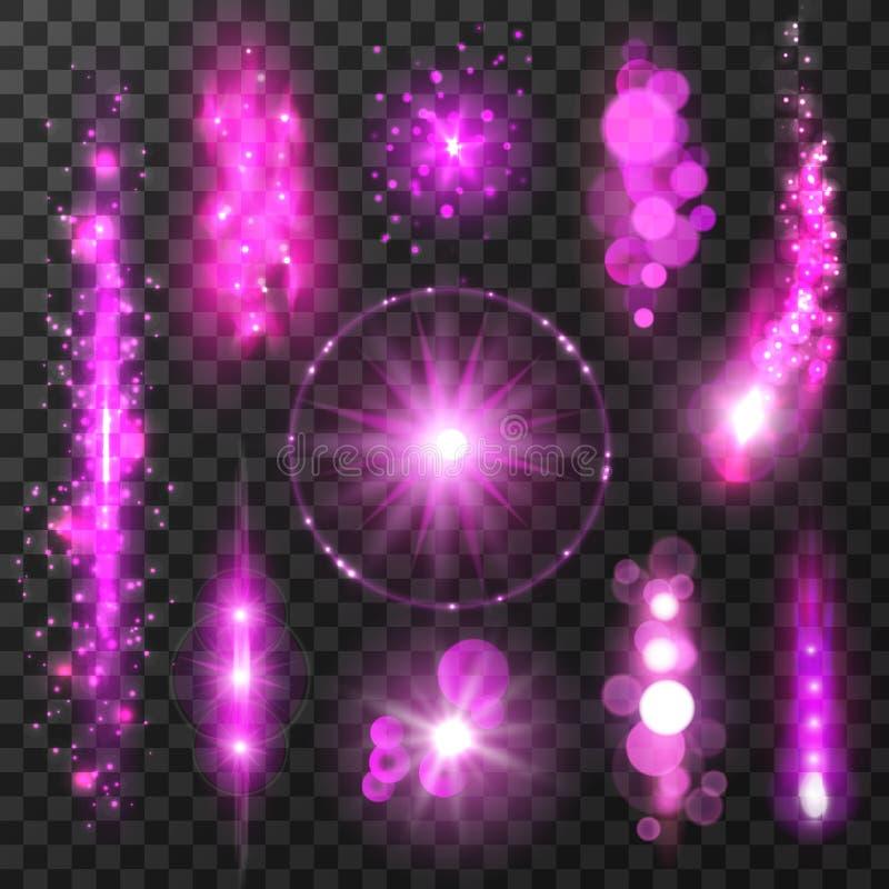紫色闪耀的光足迹和闪光 皇族释放例证