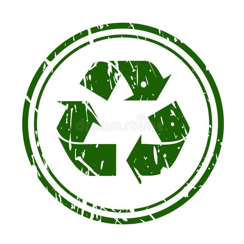 绿色难看的东西回收在白色的标志邮票 向量例证