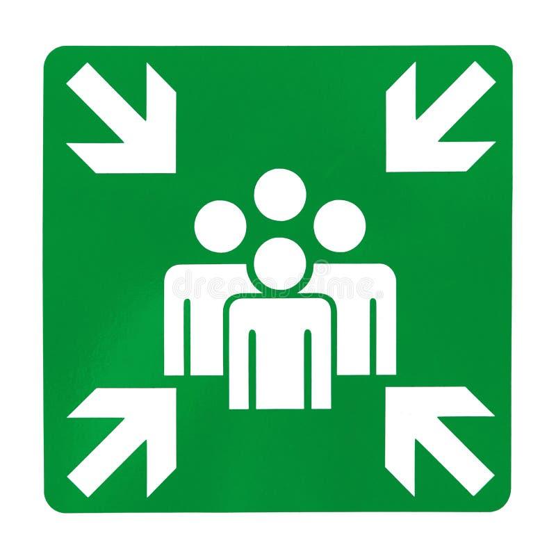 绿色集合点标志 免版税库存照片