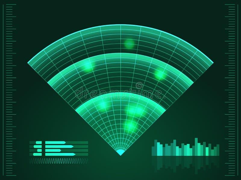 绿色雷达网 您设计新例证自然向量的水 背景二进制代码地球电话行星技术 未来派用户界面 HUD 皇族释放例证