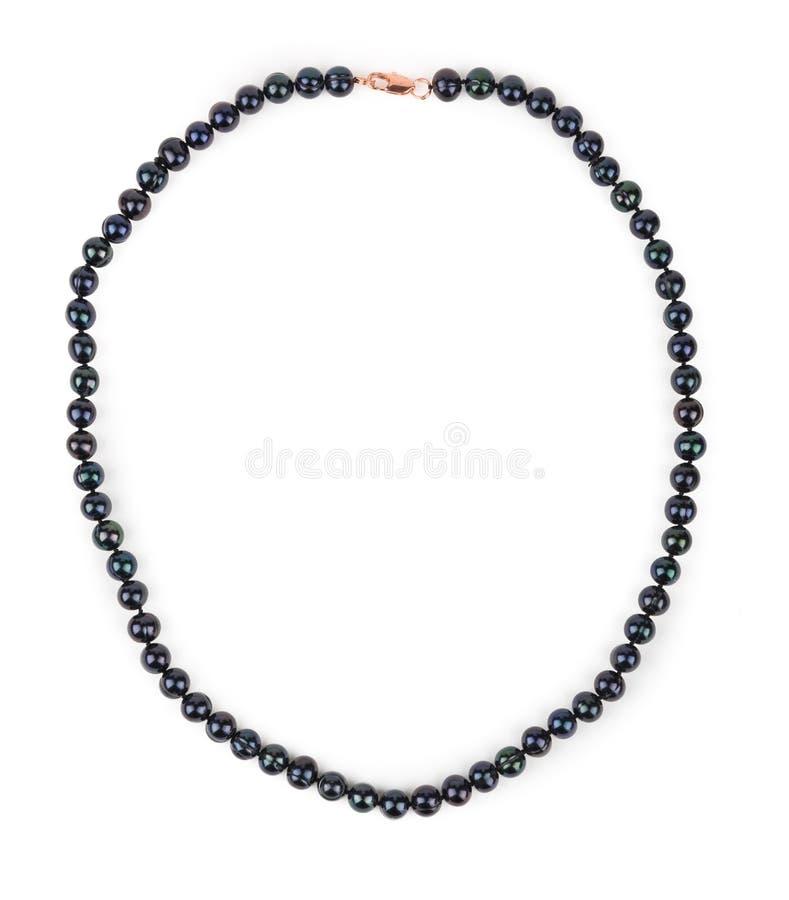 黑色项链珍珠 免版税库存照片