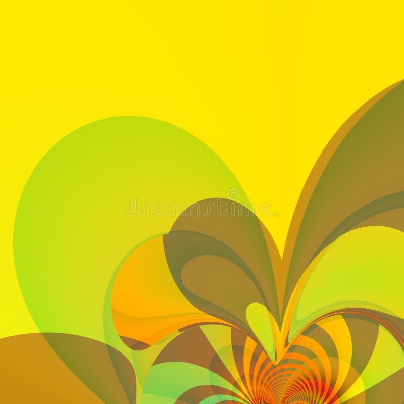黄色飞溅介绍背景 色的墙纸 花卉样式印刷品 漩涡喜悦 相当简单的下落 动画片样式 向量例证