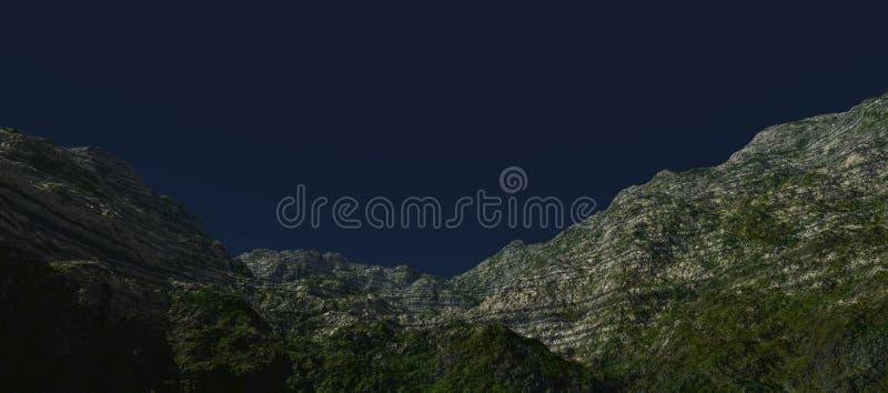 绿色高原的看法与谷底的 攀登山 向量例证
