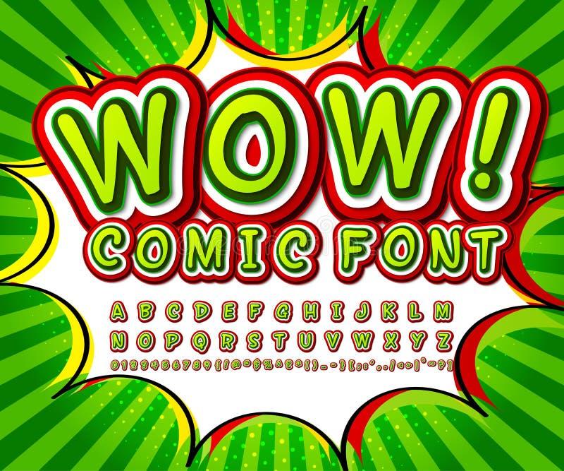 绿色高细节可笑的字体,字母表 漫画,流行艺术 皇族释放例证