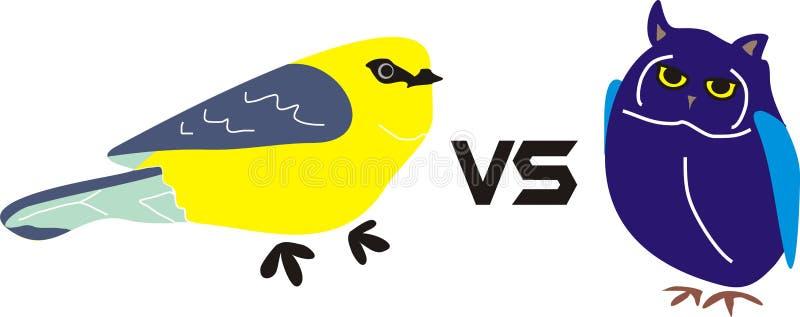 黄色鸟对猫头鹰蓝色鸟动物 免版税库存图片