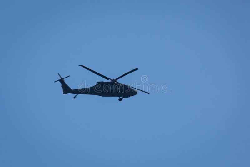 黑色鹰直升机 库存图片