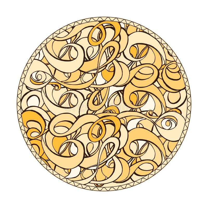黄色,棕色和米黄圆的着色页设计 库存例证