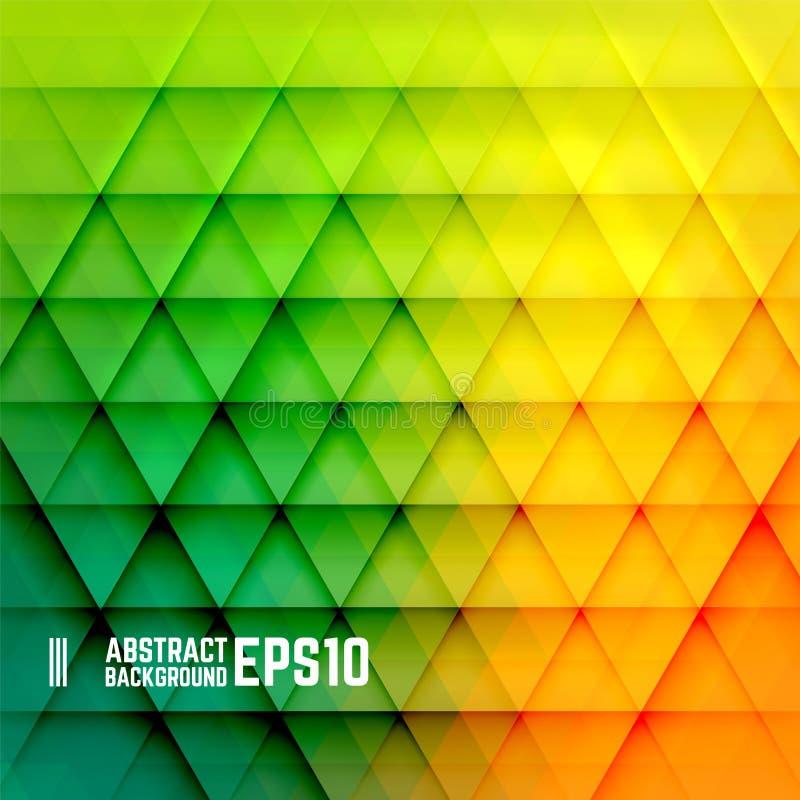黄色,橙色和绿色抽象三角背景 免版税库存照片