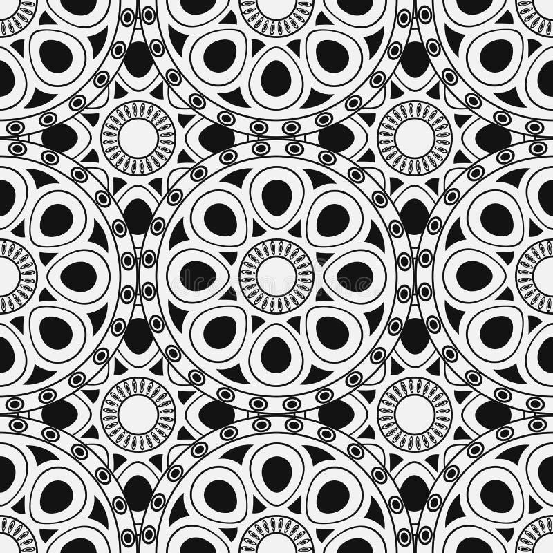 黑色,白色摩洛哥种族样式 与抽象蔓藤花纹的无缝的样式,坛场,太阳,星 皇族释放例证