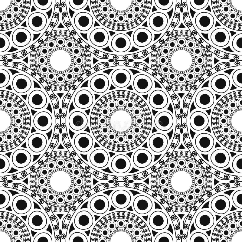 黑色,白色摩洛哥种族样式 与抽象蔓藤花纹的无缝的样式,坛场,太阳,星 向量例证