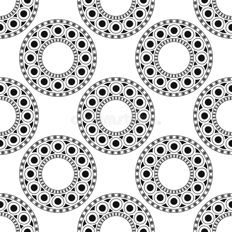 黑色,白色摩洛哥种族样式 与抽象蔓藤花纹的无缝的样式,坛场,太阳,星 库存例证