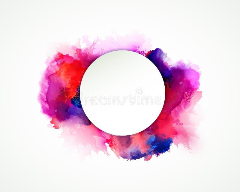 紫色,蓝色,淡紫色,橙色和桃红色水彩污点 抽象艺术性的背景的明亮的色素 向量例证