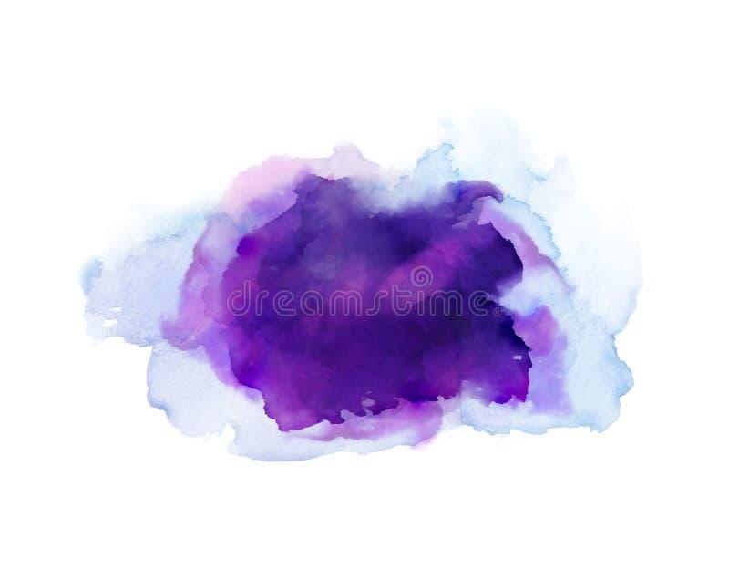 紫色,紫罗兰色,淡紫色和蓝色水彩污点 抽象艺术性的背景的明亮的色素 皇族释放例证