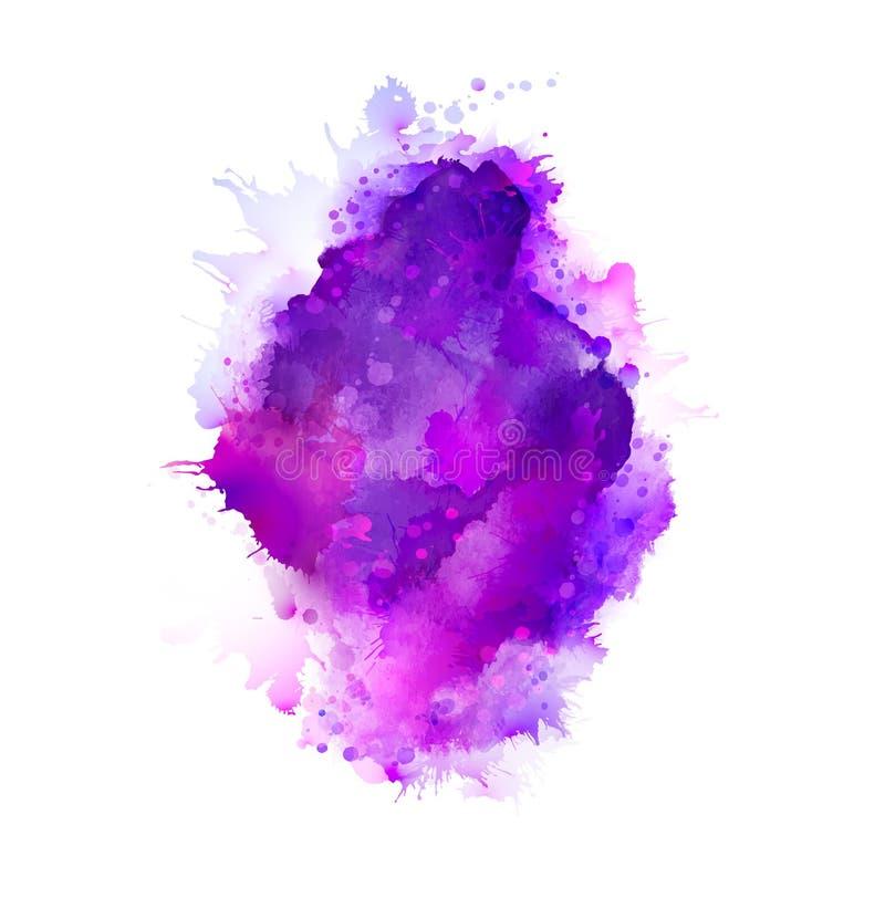 紫色,紫罗兰色,淡紫色和蓝色水彩污点 抽象艺术性的背景的明亮的色素 向量例证