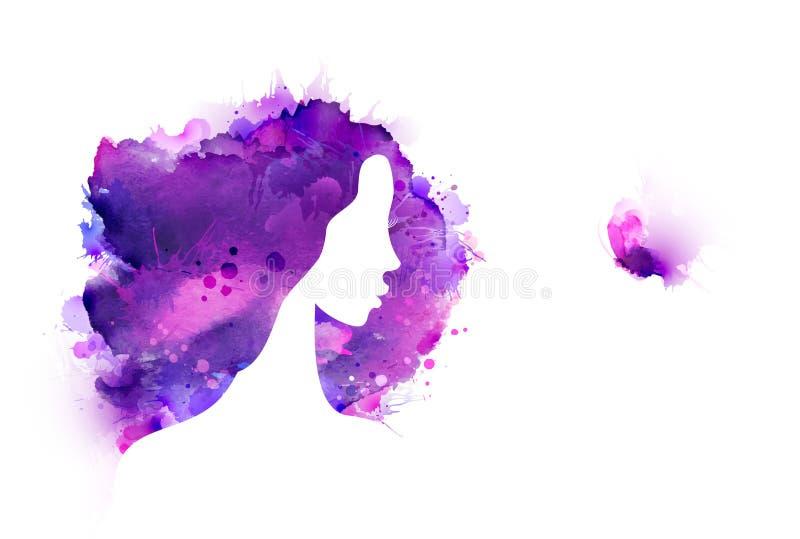 紫色,紫罗兰色,淡紫色污点和污点生成的艺术性的创造性的抽象图象 美丽的妇女敬佩蝴蝶 皇族释放例证