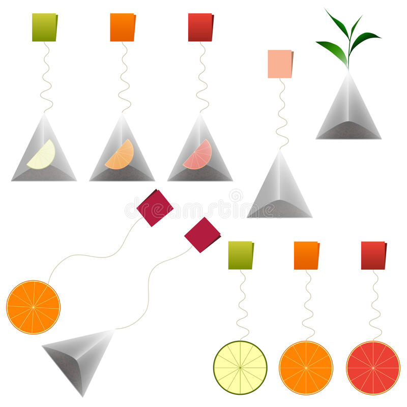 绿色,黑茶袋 果子茶 Clipart集合 向量例证