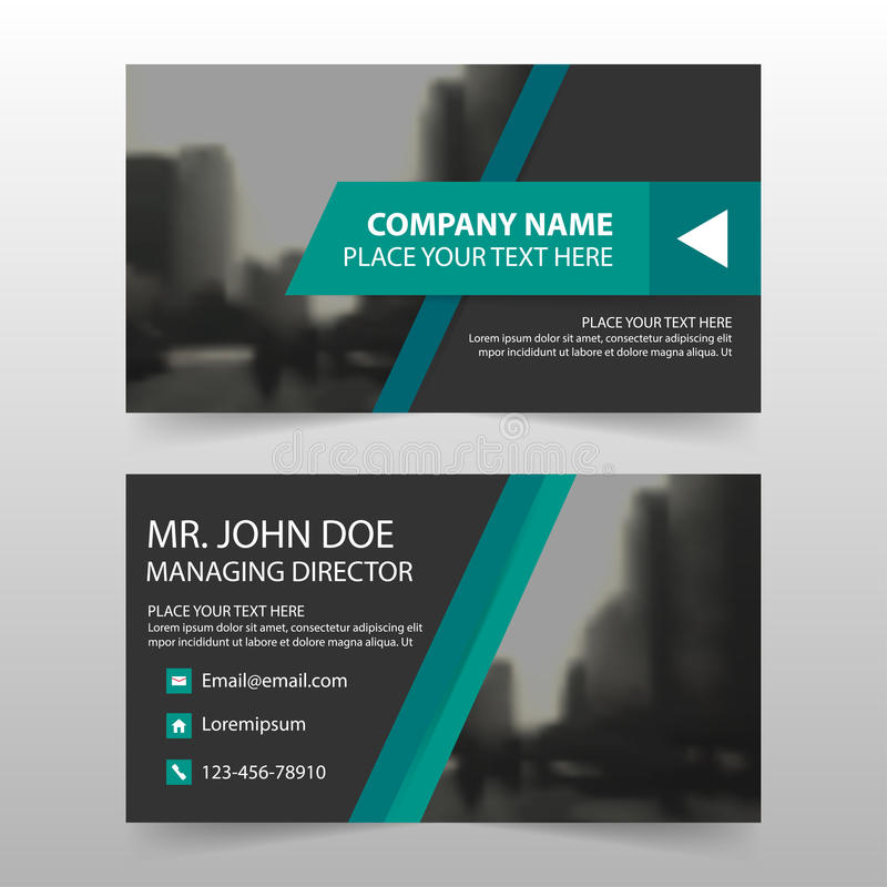 绿色黑公司业务卡片,名片模板,水平的简单的干净的布局设计模板,企业横幅卡片 皇族释放例证