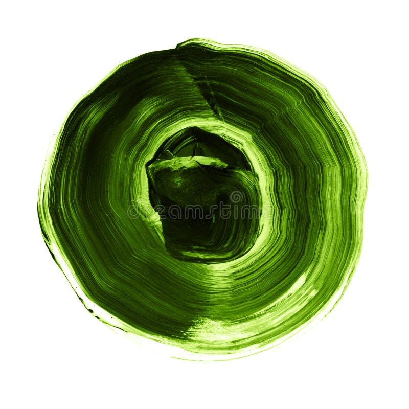 绿色织地不很细丙烯酸酯的圈子 在白色背景的水彩污点 皇族释放例证