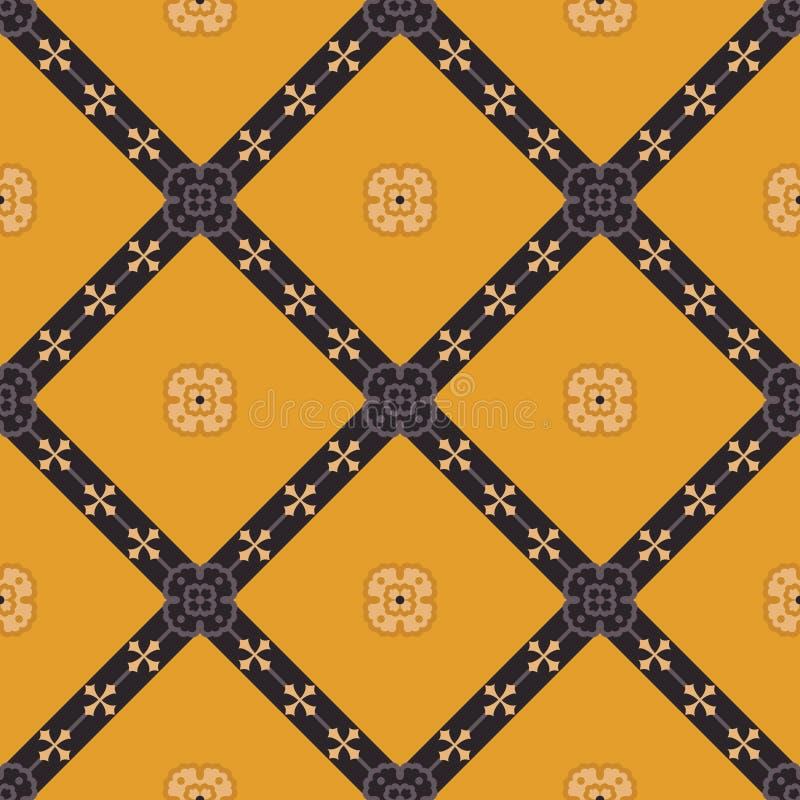 黄色维多利亚女王时代的无缝的样式 向量例证