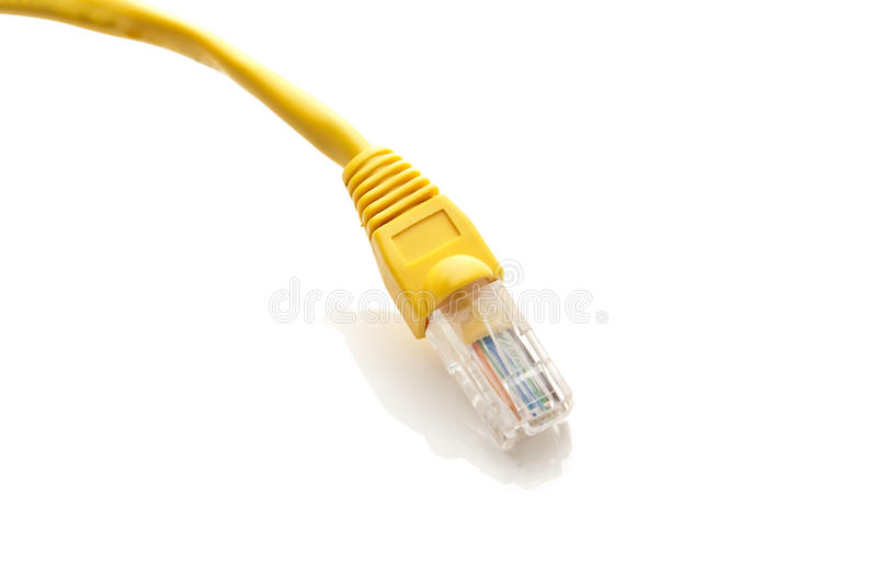 黄色以太网电缆 库存照片