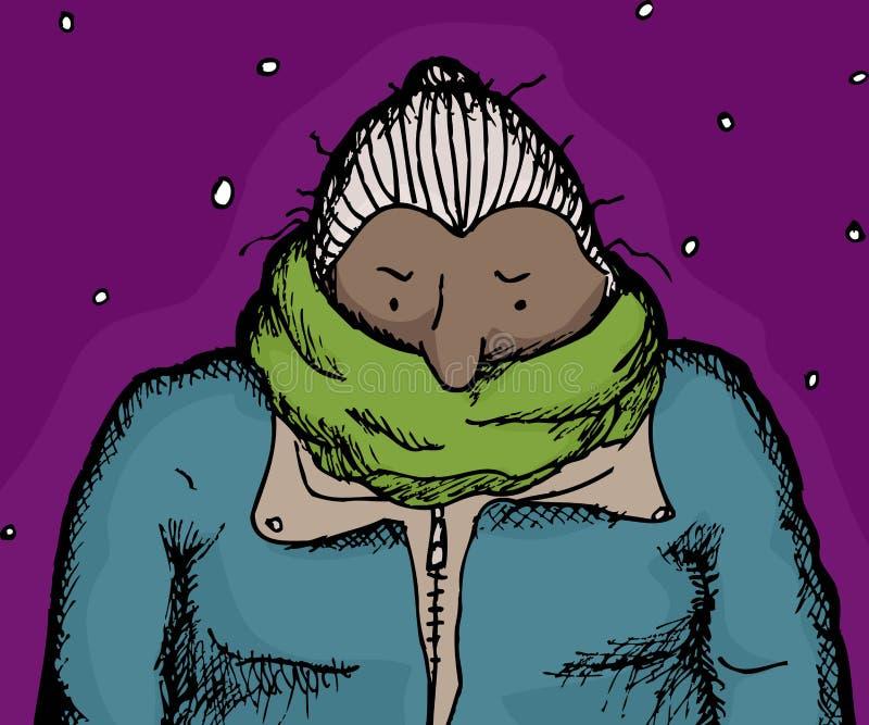 绿色围巾的冷的妇女 库存例证