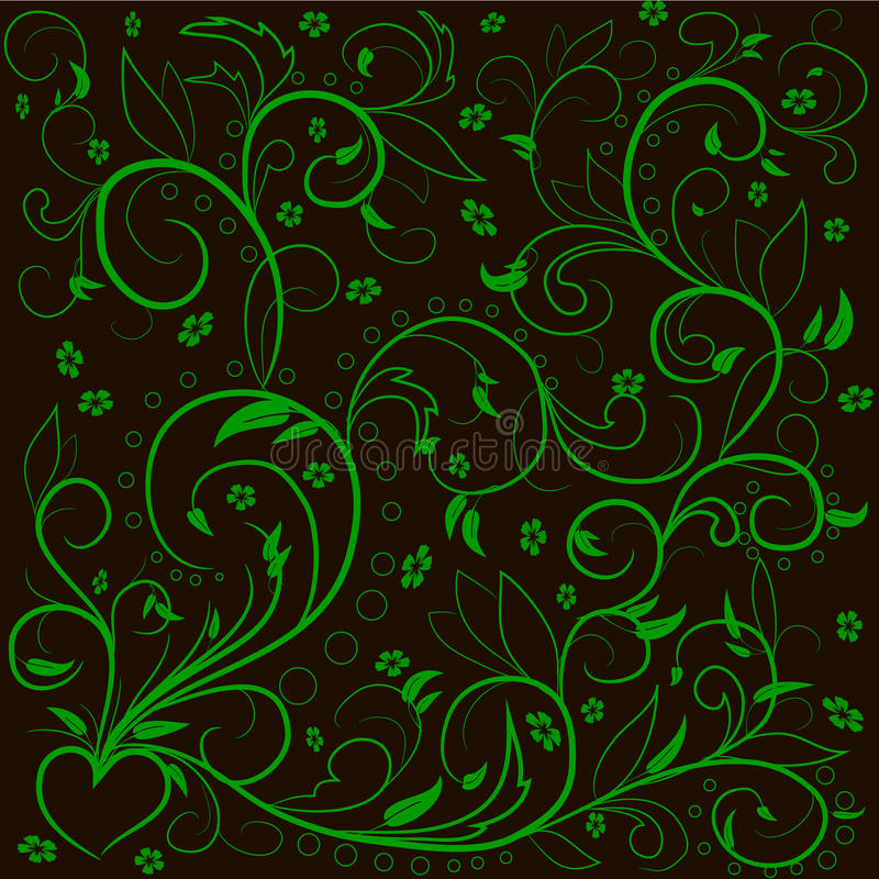 绿色离开与抽象漩涡、叶子、花和hearе 库存例证