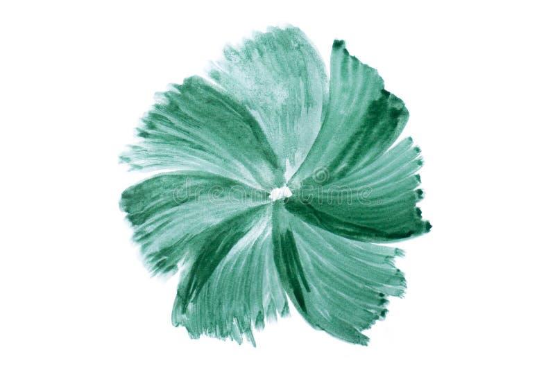 绿色水彩摘要手工制造污点 免版税库存照片