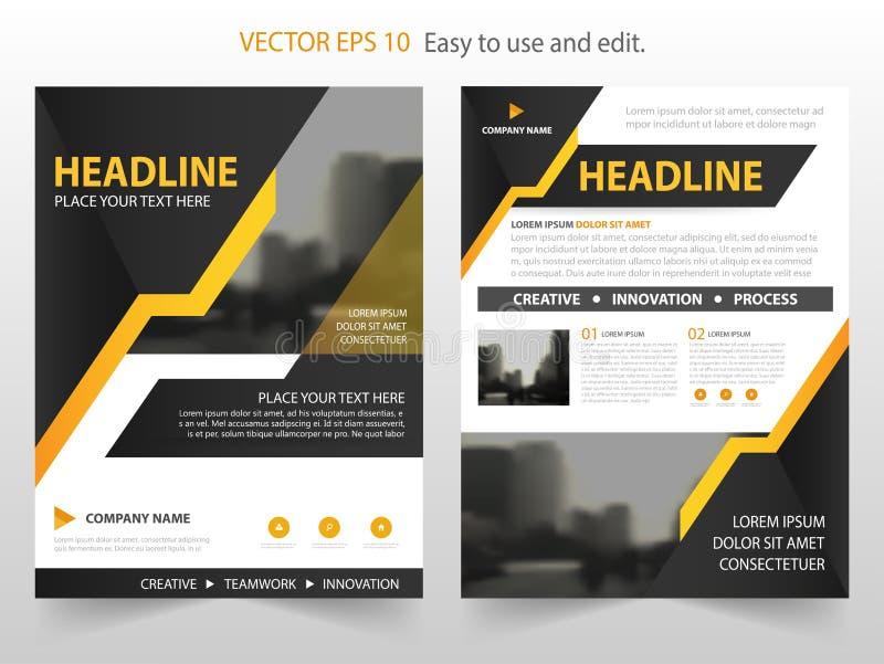 黄色黑抽象年终报告小册子设计模板传染媒介 企业飞行物infographic杂志海报 抽象格式 库存例证
