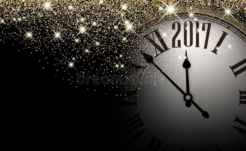 黑色2017新年时钟背景 向量例证