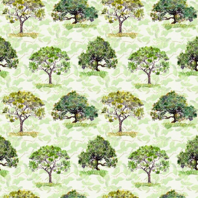 绿色结构树 公园,森林样式 重复与叶子的背景 水彩 皇族释放例证