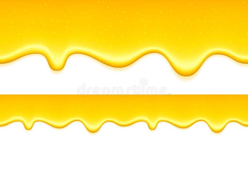 黄色滴水 柠檬果冻或蜂蜜下落 向量例证
