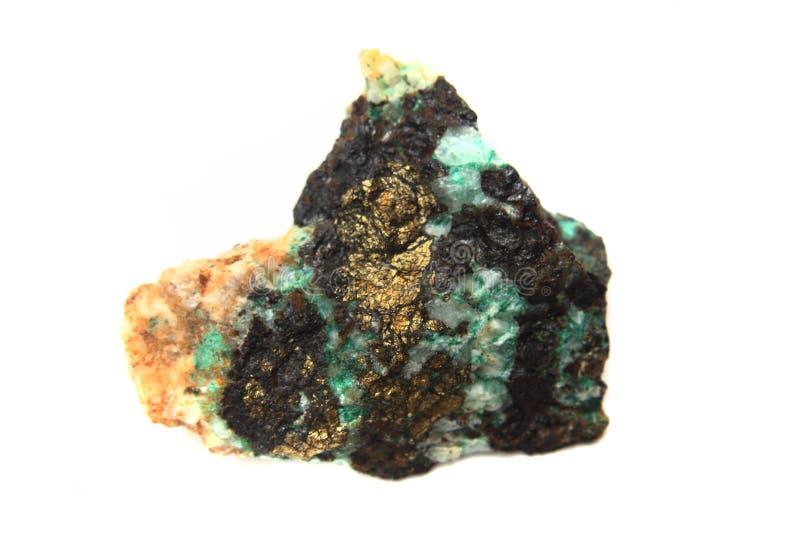 绿色绿沸铜和chalkopyrite 免版税库存照片