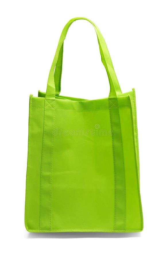 绿色购物袋前面 库存图片