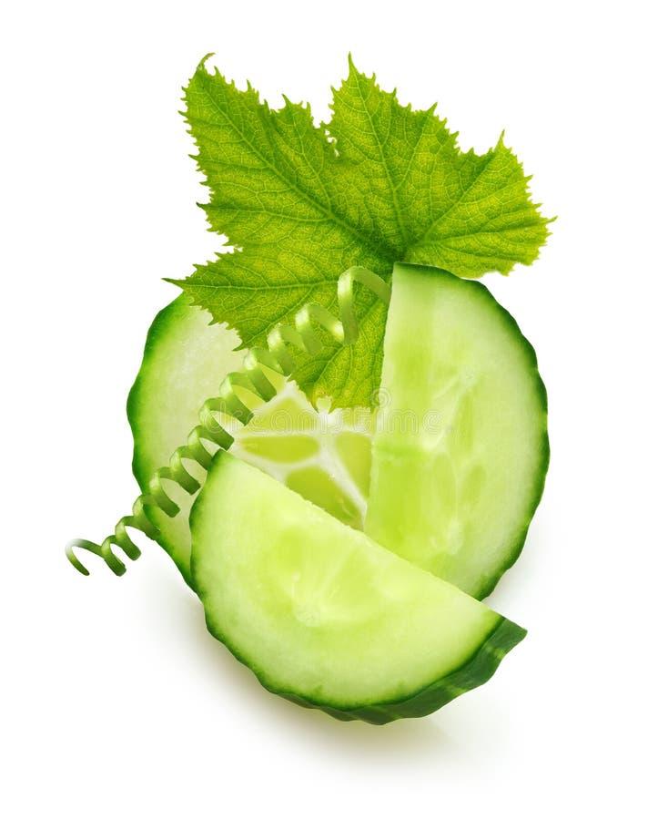 绿色黄瓜片式 库存图片