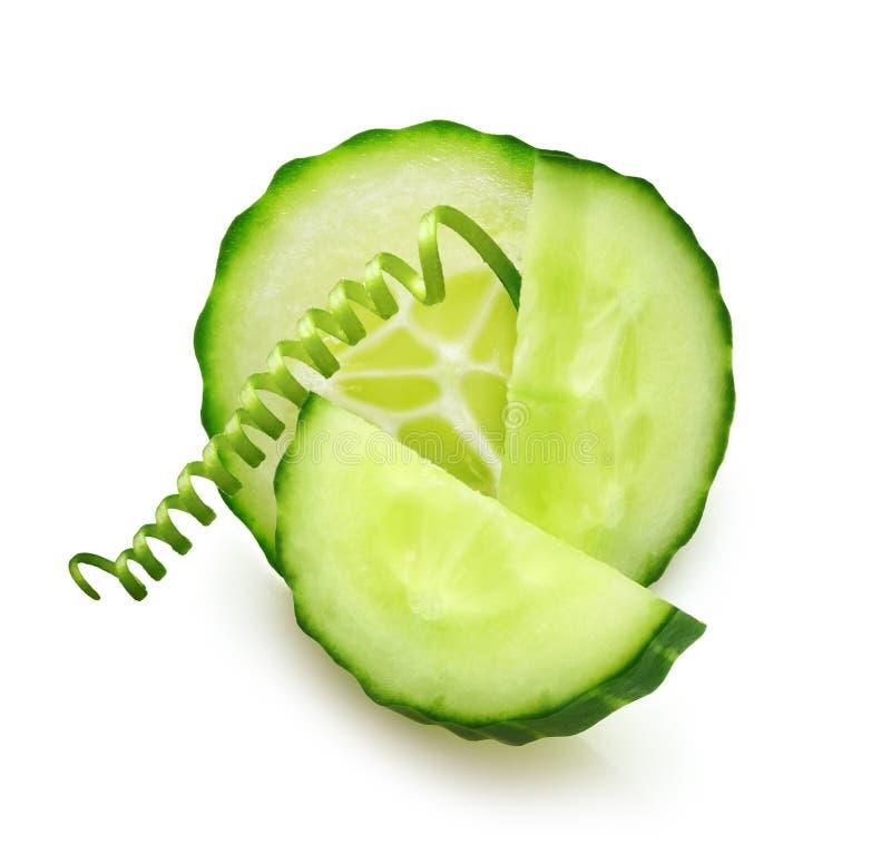 绿色黄瓜片式 免版税库存图片