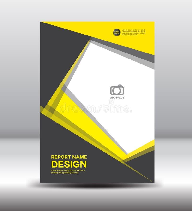 黄色黑盖子设计和盖子年终报告,飞行物templat 向量例证