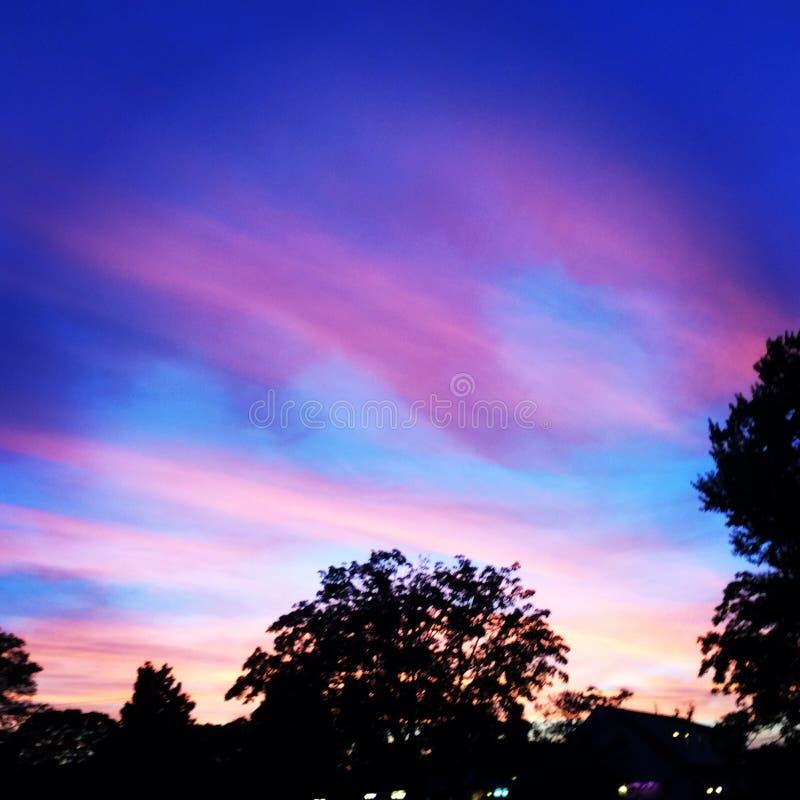 紫色/粉红天空 库存照片