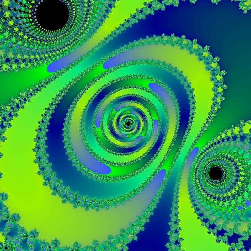绿色细胞摘要幻想分数维背景 库存例证