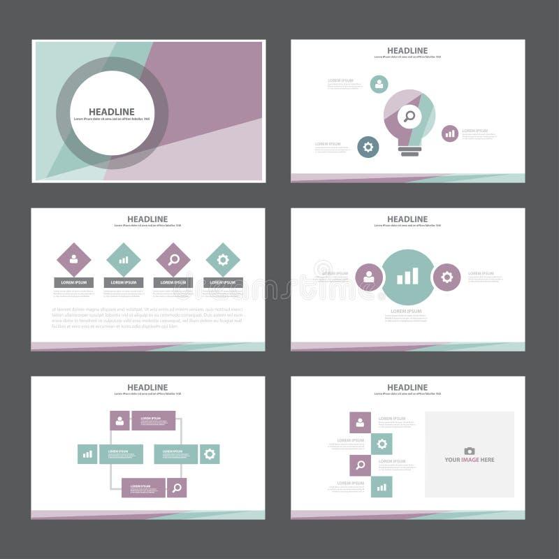 紫色绿色介绍模板Infographic元素平的设计集合forbrochure飞行物传单营销 皇族释放例证