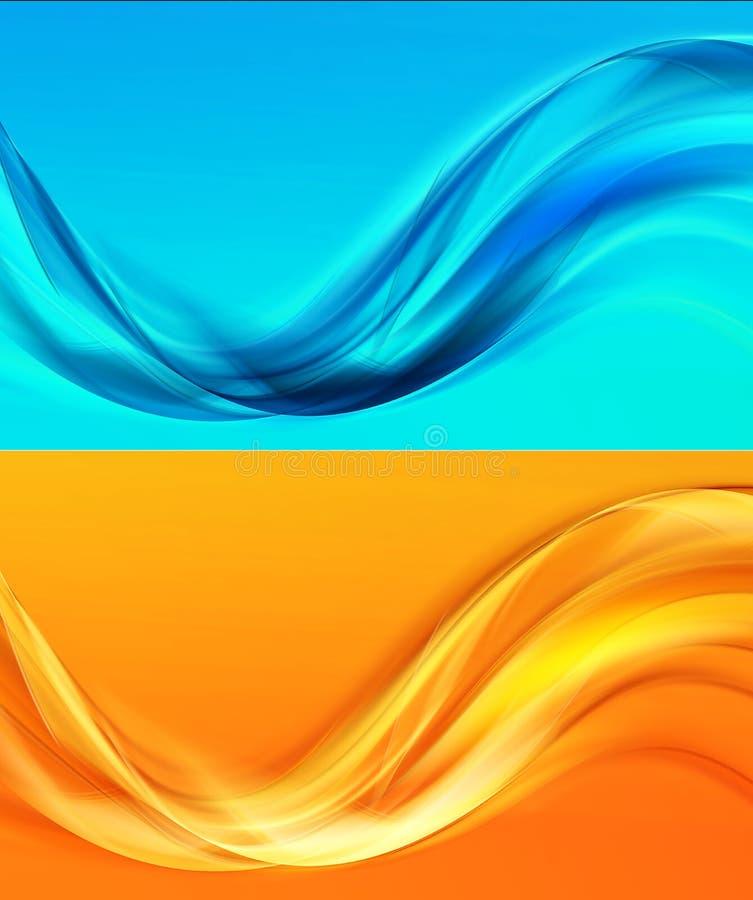 黄色-蓝色抽象背景构成 皇族释放例证
