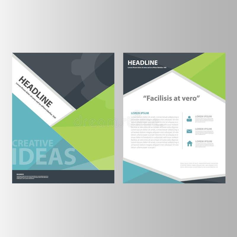 绿色黑蓝色年终报告介绍模板元素象平的设计为给营销小册子飞行物做广告设置了 向量例证